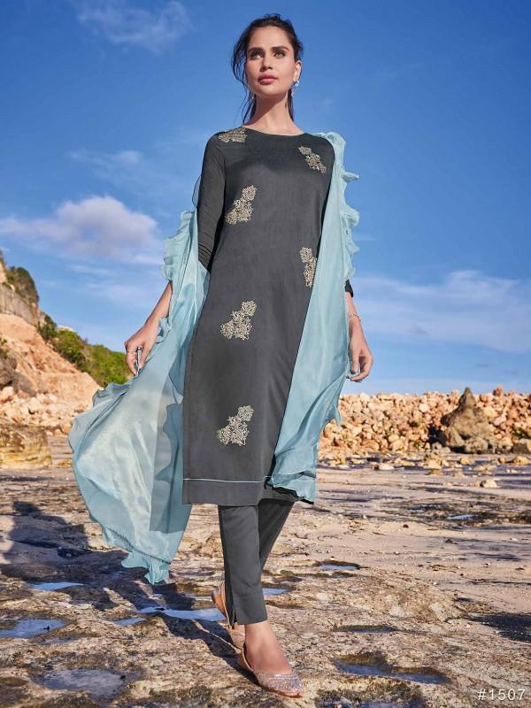 Silk Salwar Kameez Grey Colour With Resham,Embroidery,Hand Work.