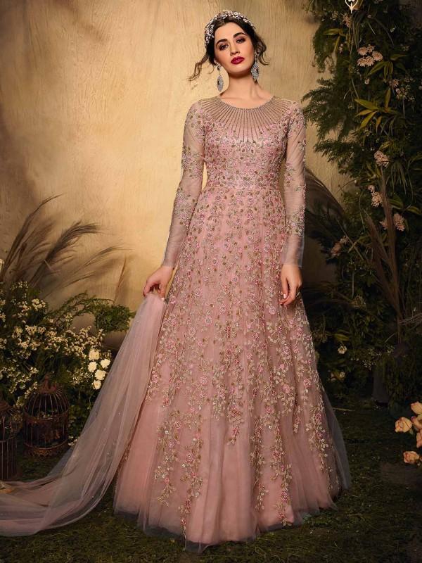 Pink Colour Net Fabric Anarkali Salwar Kameez.