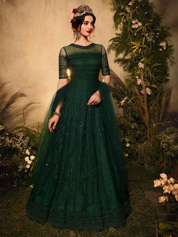 Green Colour Net Designer Salwar Suit.