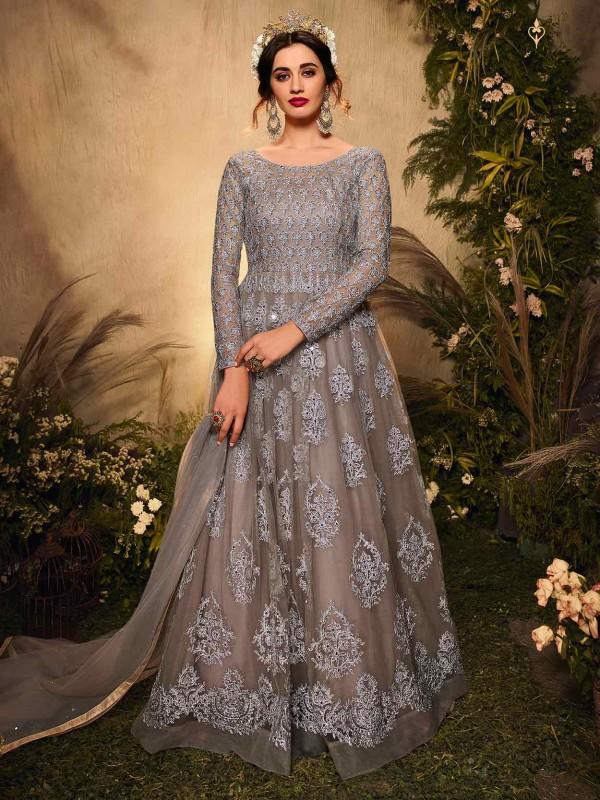 Brown,Silver Colour Net Designer Salwar Kameez.