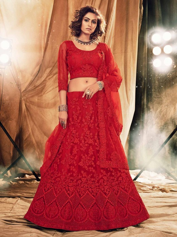 Red Colour Net Fabric Wedding Lehenga Choli.
