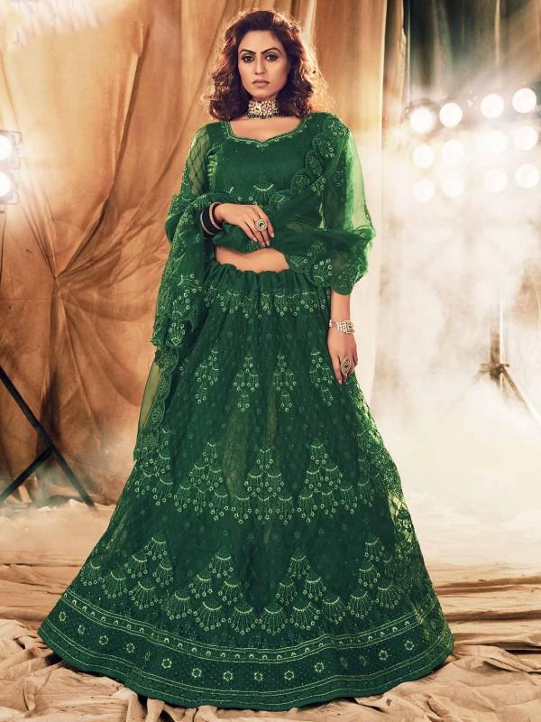 Green Colour Net Women Lehenga Choli.