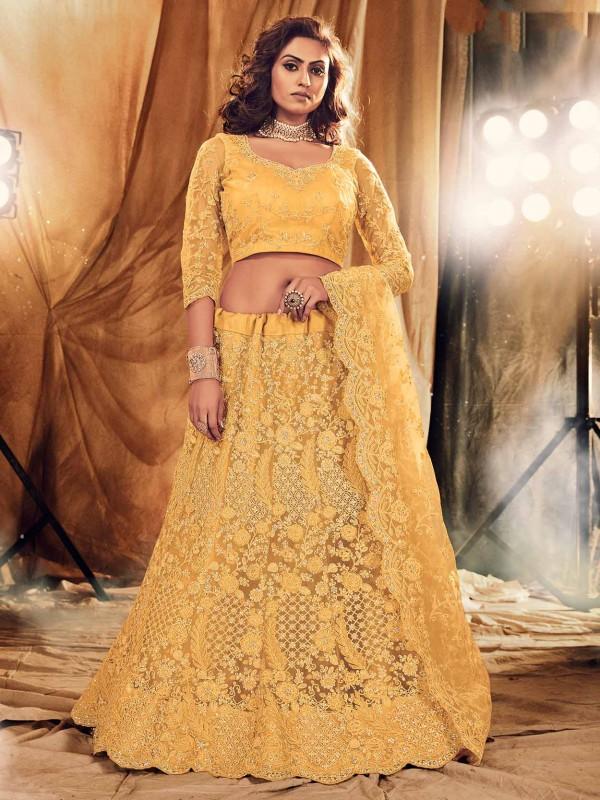 Yellow,Golden Colour Net Designer Lehenga.