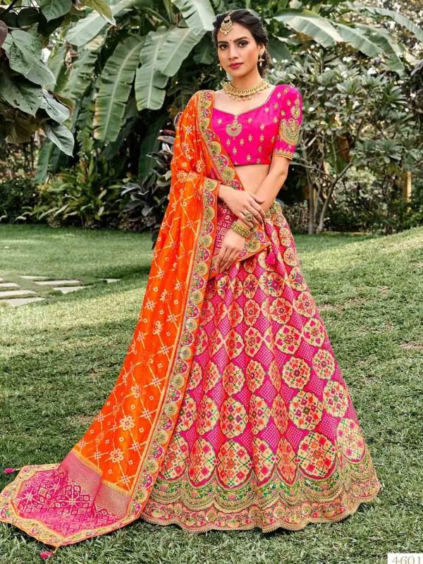 Pink Colour Silk Fabric Traditional Lehenga Choli.