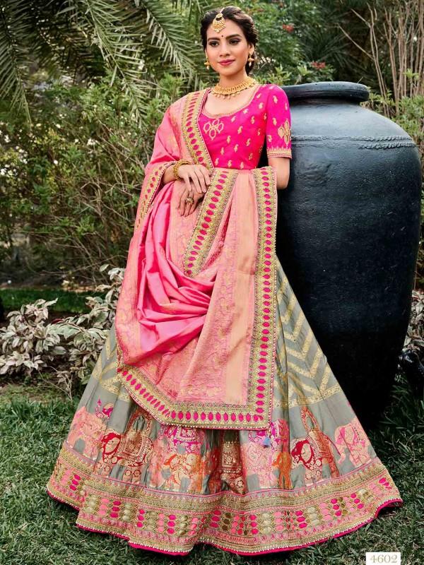 Silk Designer Lehenga Choli Grey,Pink Colour.