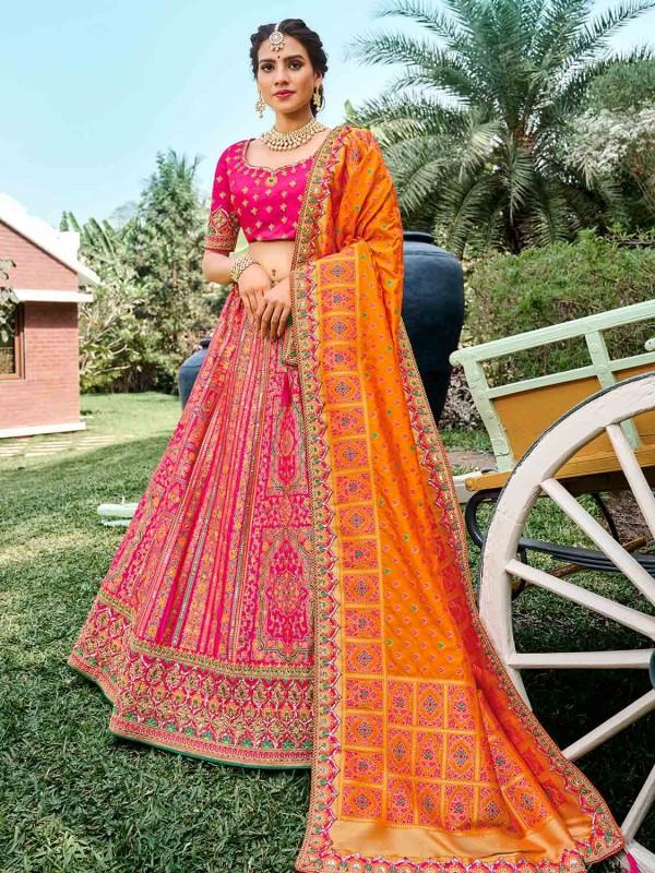 Yellow,Pink Colour Silk Fabric Wedding Lehenga Choli.