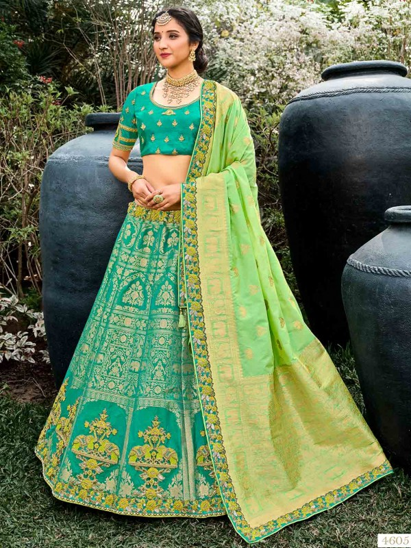 Green Colour Silk Fabric Lehenga With Embroidery,Weaving Work.