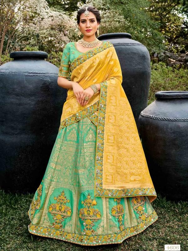 Turquoise Colour Silk Wedding Lehenga Choli.