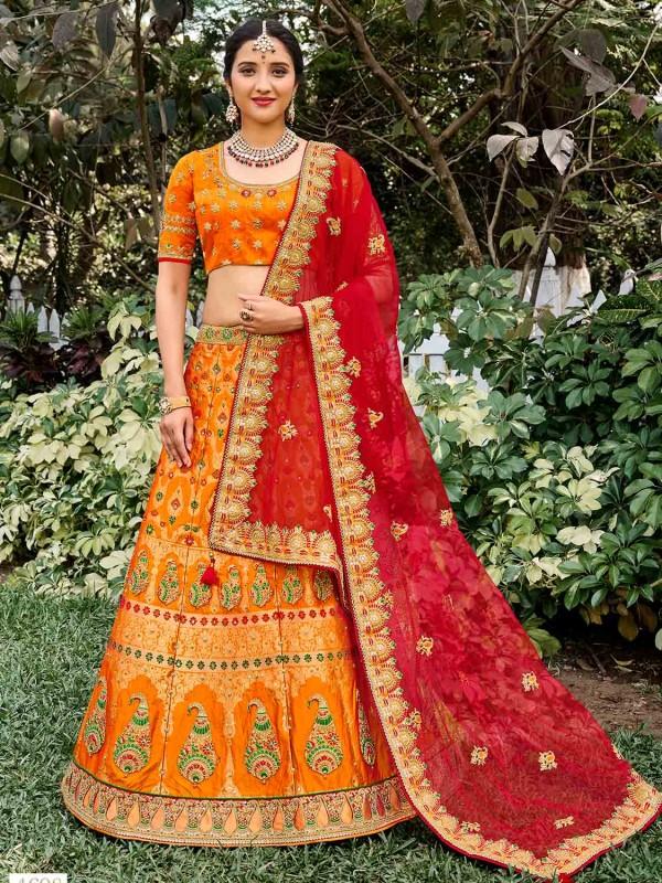 Mustard Yellow Colour Silk Fabric Bridal Lehenga Choli.