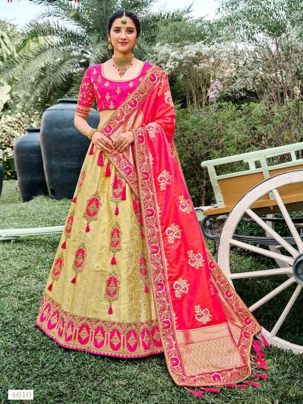 Golden,Pink Colour Silk Fabric Bridesmaid Lehenga Choli.