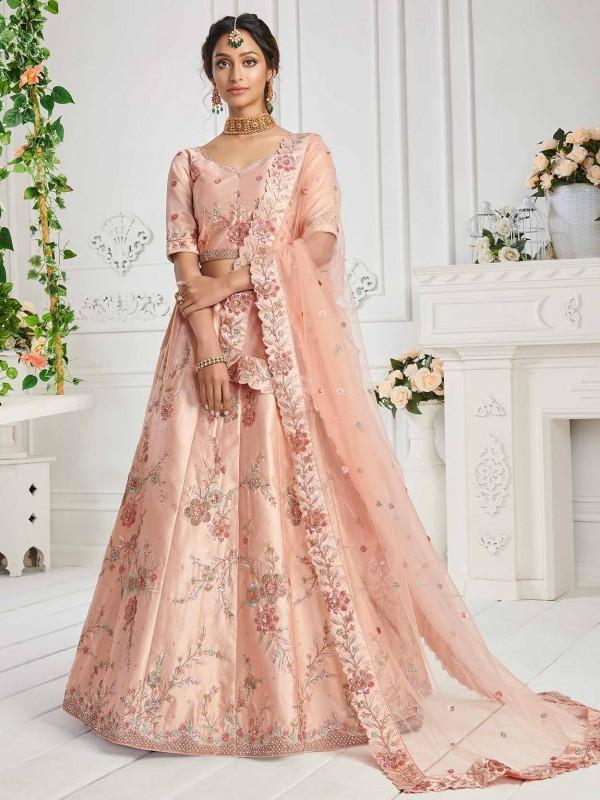 Peach Colour Silk Fabric Designer Wedding Lehenga Choli.
