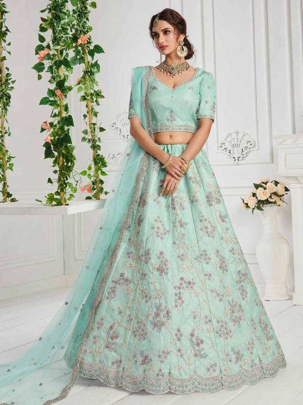 Sky Blue Colour Silk Fabric Women Lehenga Choli.