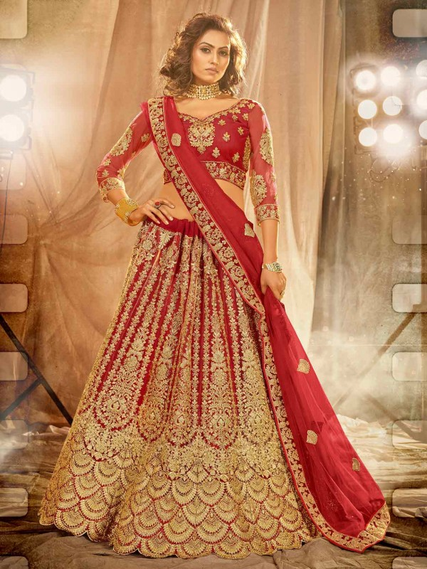Maroon Colour Net Fabric Designer Lehenga Choli.