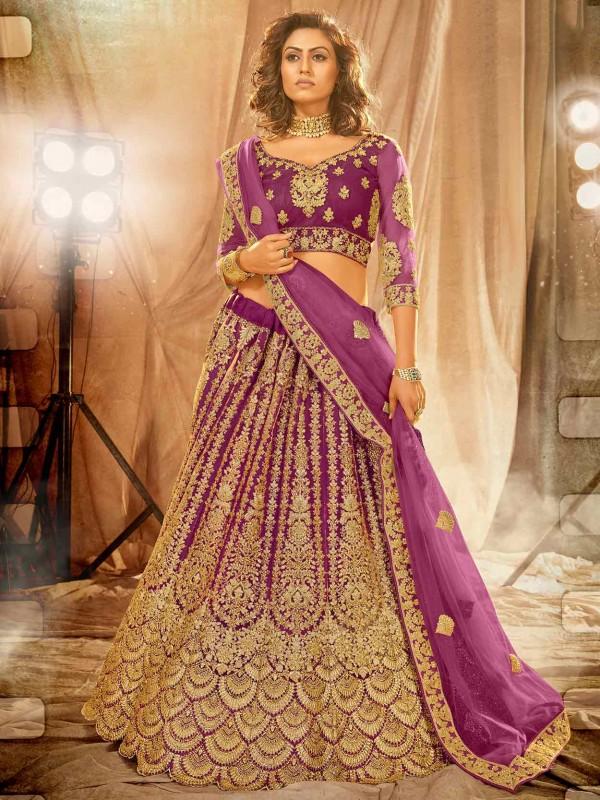 Magenta Colour Net Fabric Women's Lehenga Choli.