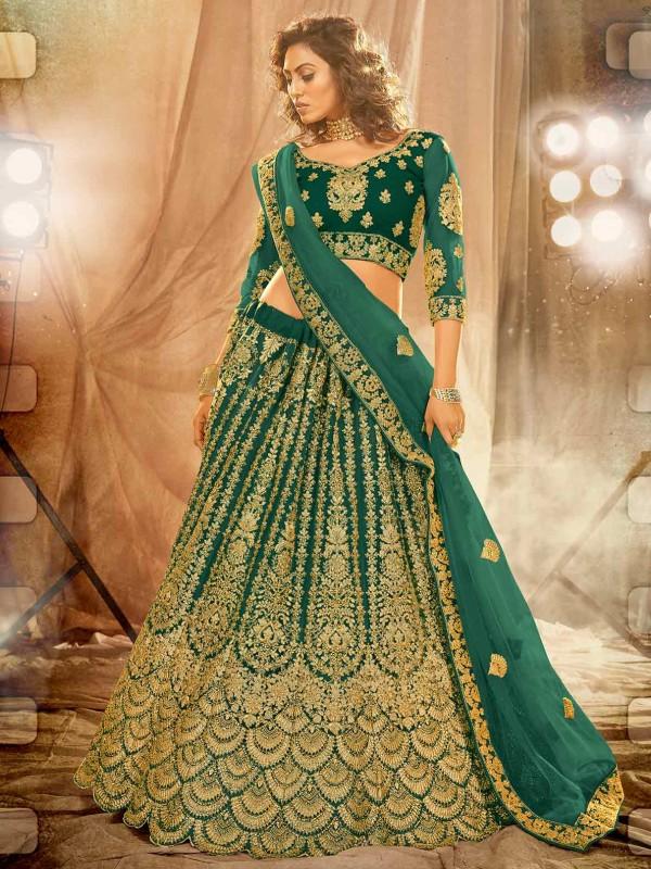 Net Fabric Lehenga Choli Rama Green Colour.