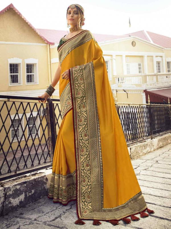 Yellow Colour Designer Silk Saree.