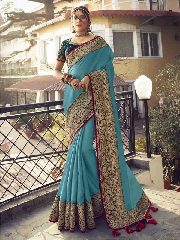 Turquoise Colour Silk Women Saree.