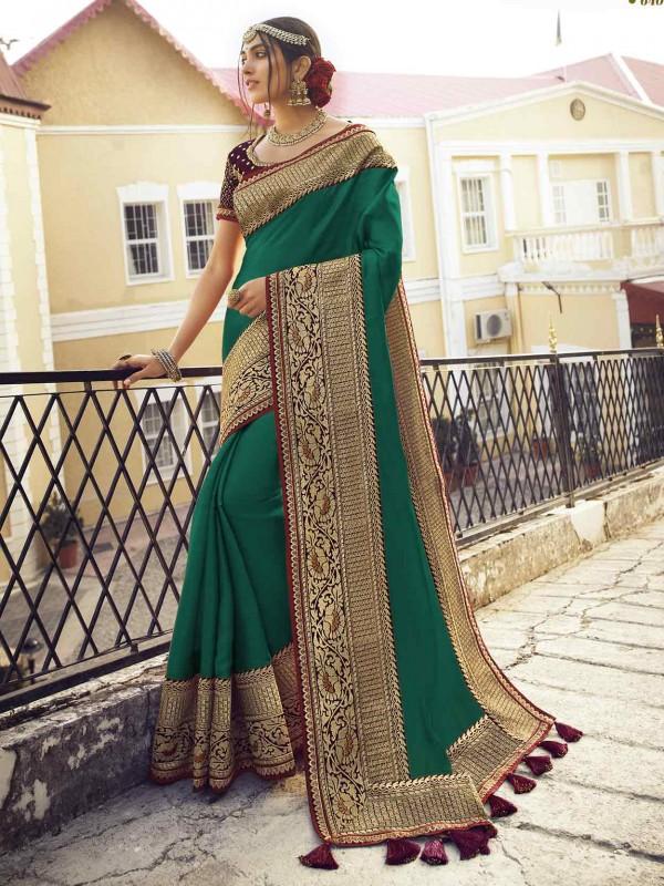Green Colour Silk Women Sari.