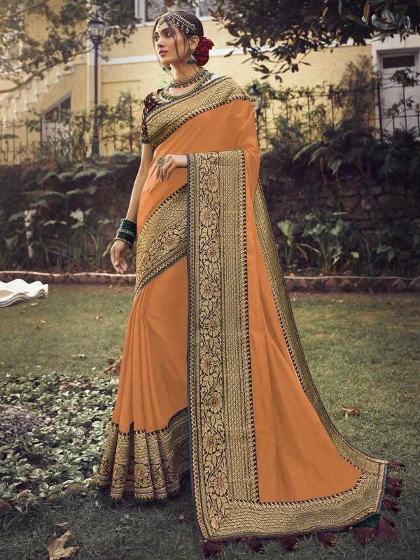Orange Colour Silk Fabric Women Saree.