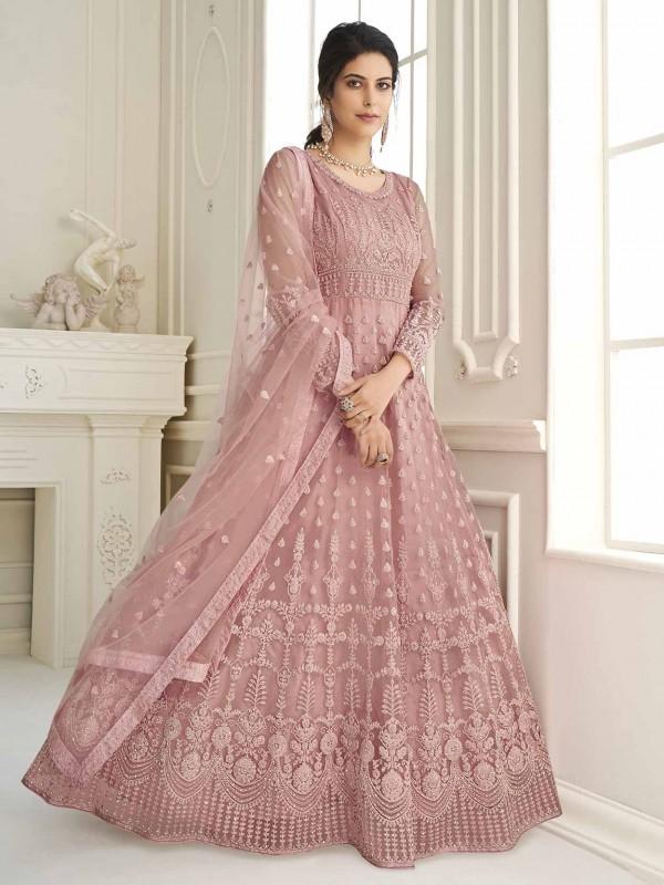 Pink Colour Net Fabric Designer Anarkali Salwar Kameez.