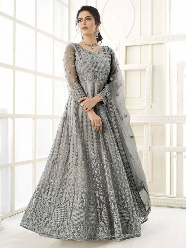 Grey Colour Net,Satin Fabric Anarkali Salwar Kameez.