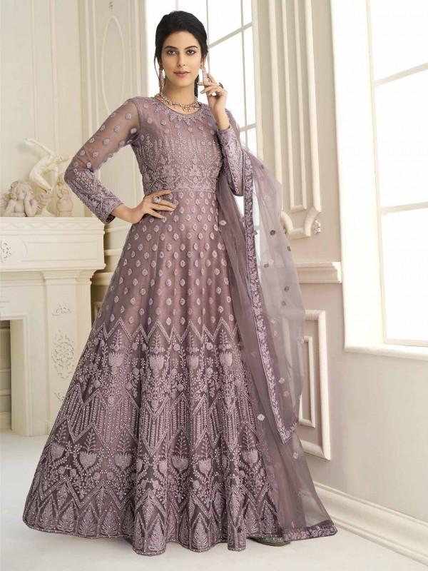 Net Anarkali Salwar Kameez Purple Colour.