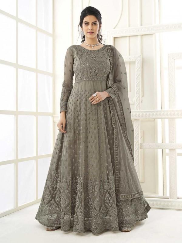 Grey,Green Colour Net,Satin Fabric Women Anarkali Salwar Suit.