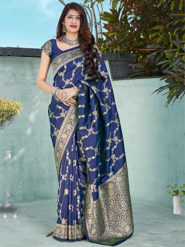 Navy Blue Colour Banarasi Silk Saree.