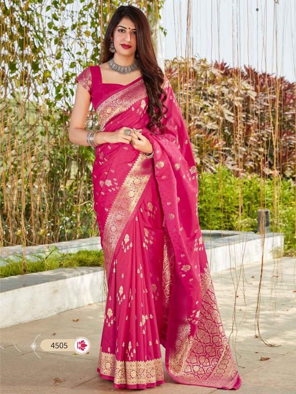 Pink Colour Banarasi Silk Weaving Saree.