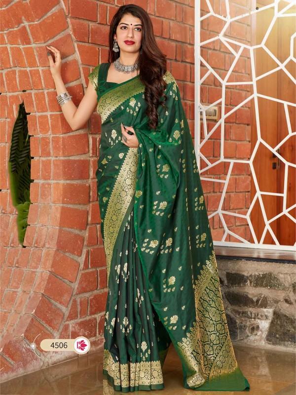 Green Colour Banarasi Silk Designer Sari.