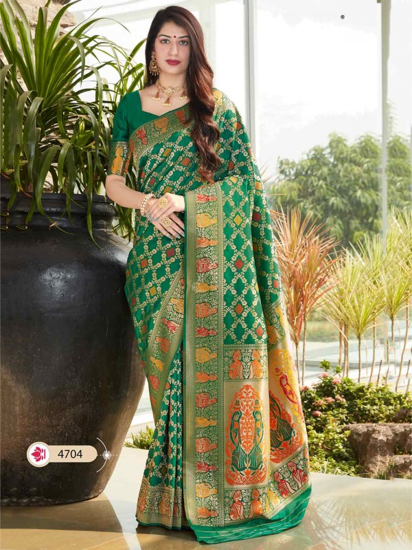 Silk Fabric Traditional Saree in Green Colour.