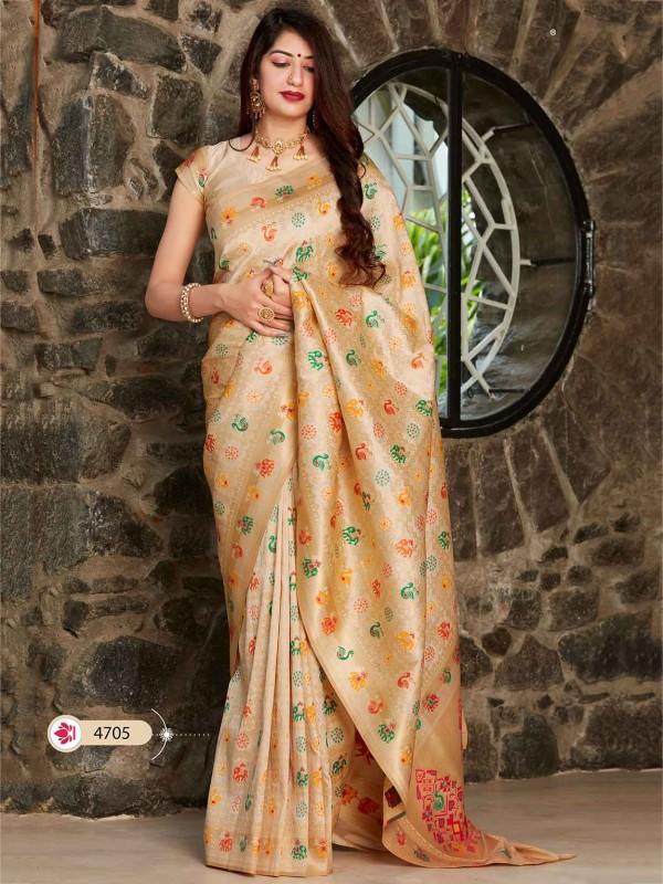 Cream Colour Designer Silk Saree.