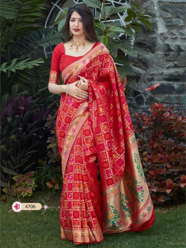 Red Colour Silk Fabric Indian Designer Saree.