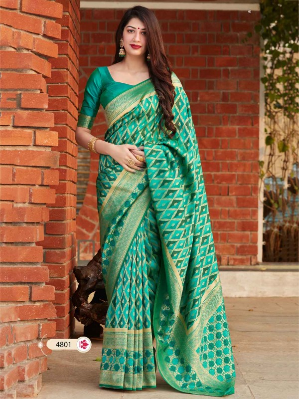 Green Colour Banarasi Silk Designer Saree.