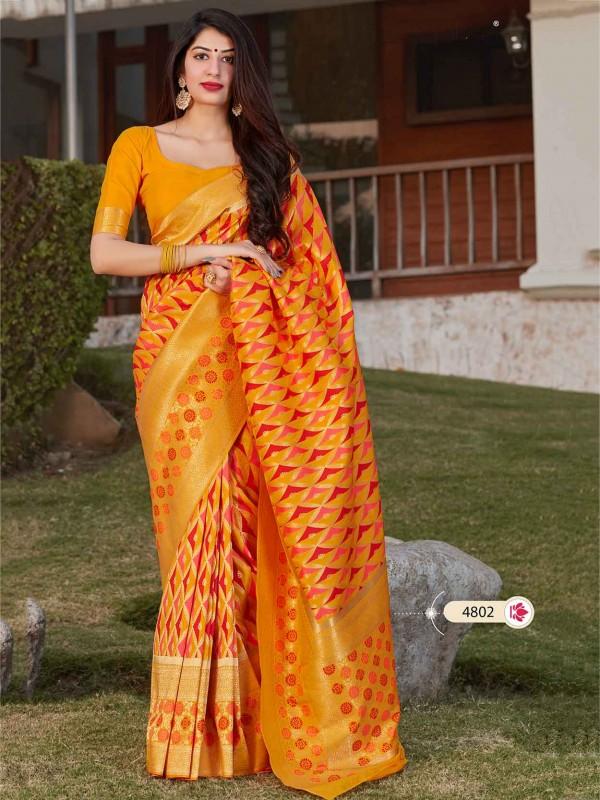 Yellow Colour Banarasi Silk Traditional Saree.