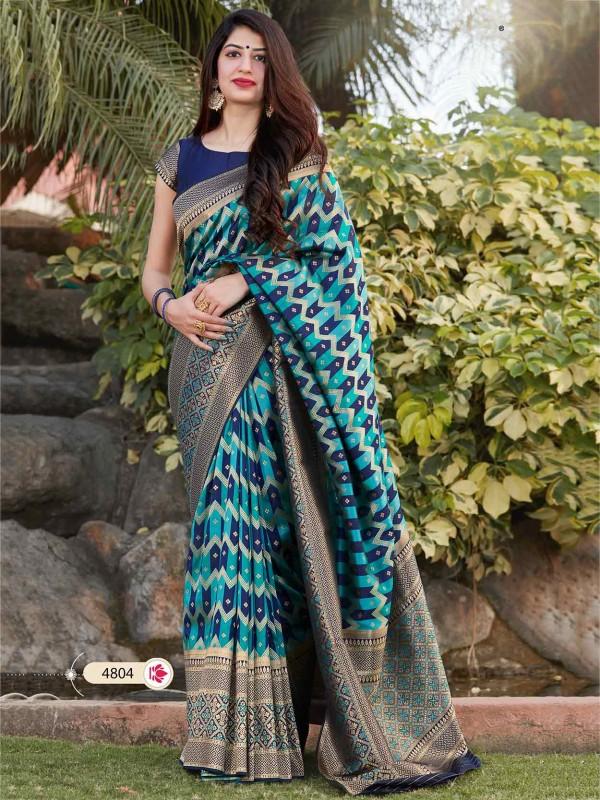 Blue Colour Banarasi Silk Women Sari.