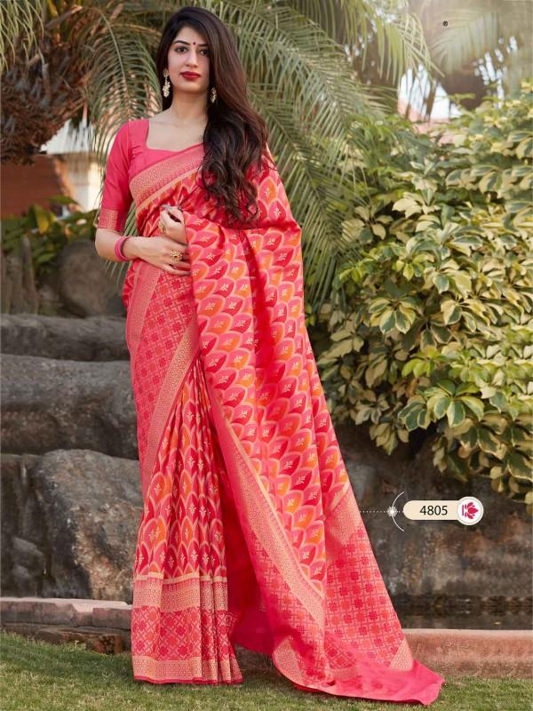 Banarasi Silk Saree Pink Colour.