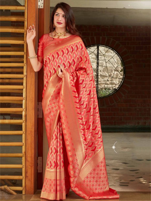 Peach,Red Colour Banarasi Silk Designer Saree.
