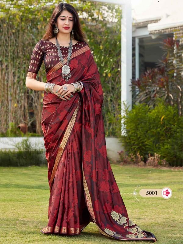 Maroon Colour Banarasi Silk Party Wear Saree.