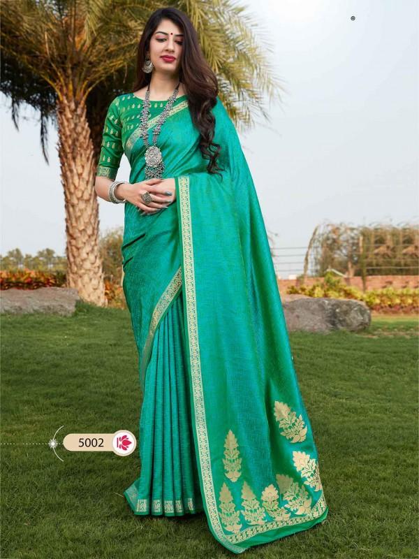 Banarasi Silk Designer Saree Rama Green Colour.
