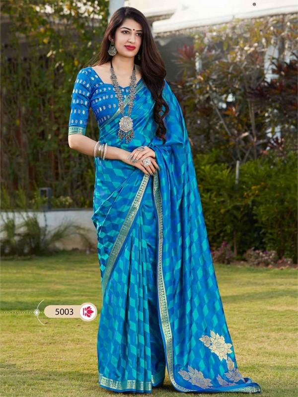 Blue Colour Banarasi Silk Printed Saree.