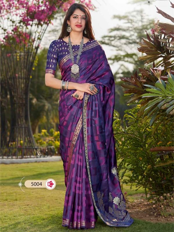 Blue,Purple Colour Banarasi Silk Saree.