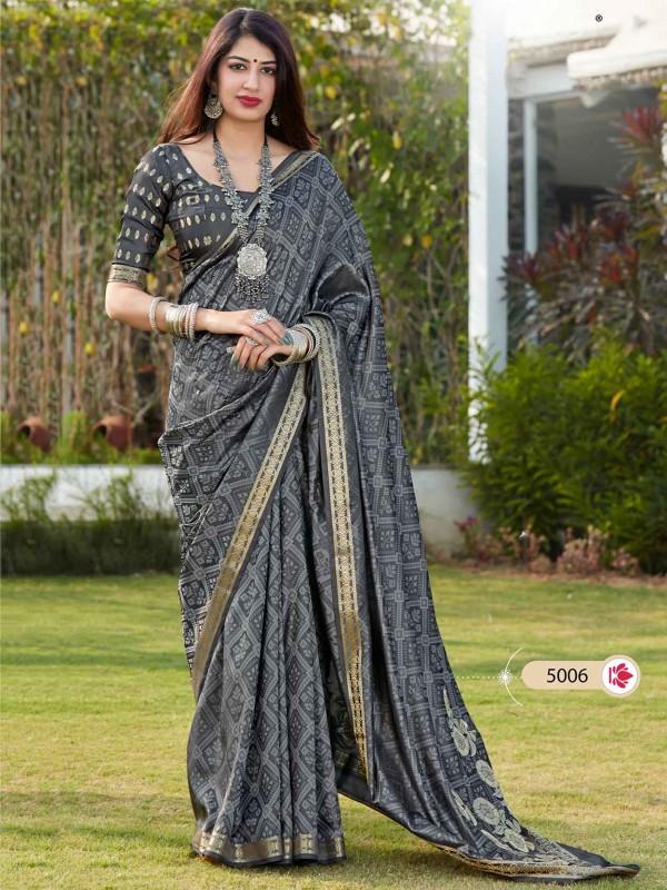 Grey Colour Banarasi Silk Printed Saree.