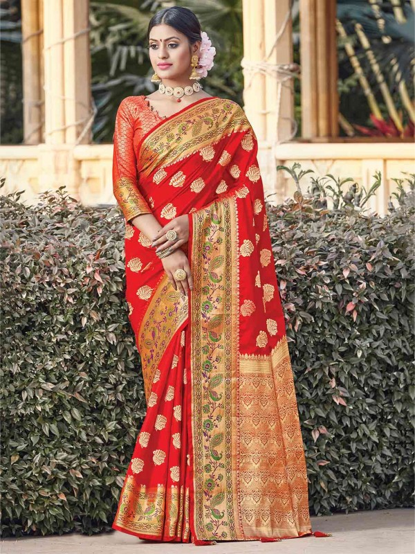 Red Colour Silk Traditional Saree.