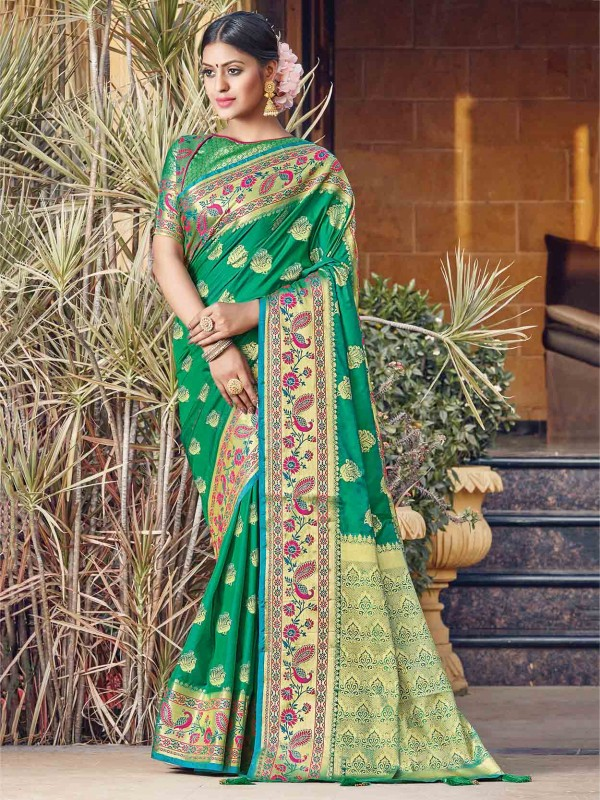 Silk Designer Saree Green Colour.
