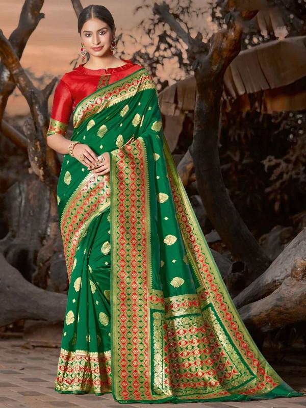 Green Colour Silk Traditional Saree.