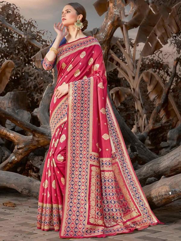 Silk Designer Saree Pink Colour.