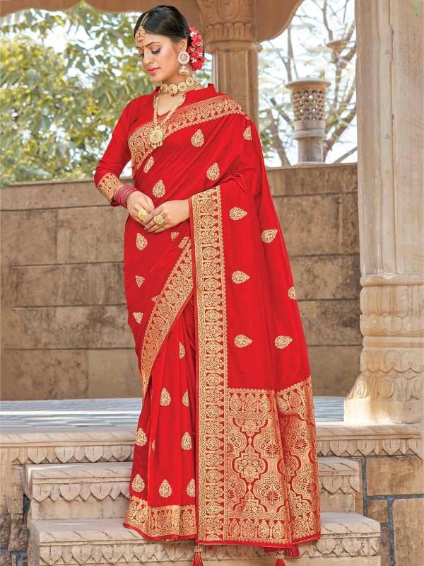 Silk Designer Bridal Saree Red Colour.