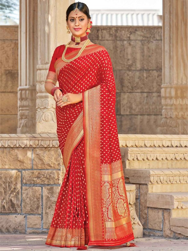 Silk Traditional Saree Red Colour.