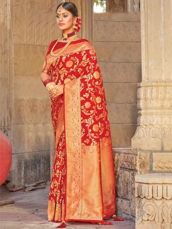 Red Colour Silk Women Saree.